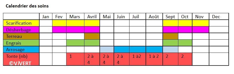 calendrier entretien des pelouses et gazons